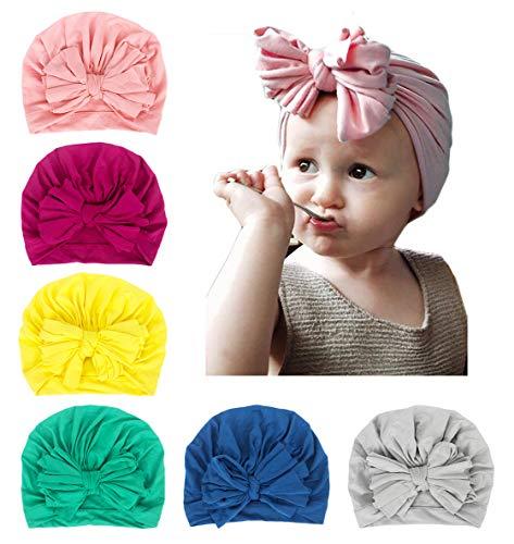 Xinshi Girls Baby Cotton Cloth Turban Kont Toddler Tabbit Ear Hat Kids Set Head Cap (XS-QW2(6PCS))