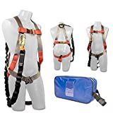 Madaco Roof Construction Fall Protection Full Body Industrial Safety Harness Internal Shock Absorbing 6FT Lanyard Kit Size M-XXL ANSI OSHA Combo A Blue