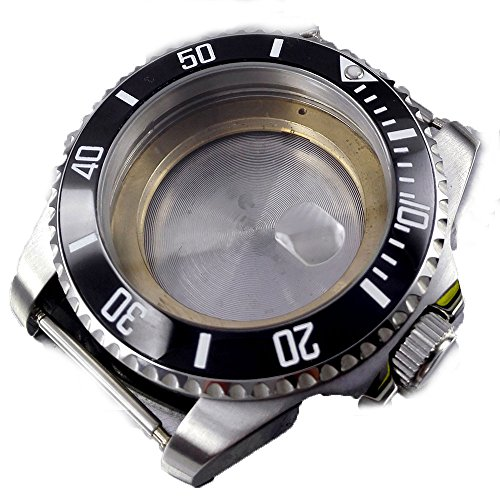 Parnis 40MM Sapphire Glass Ceramic Bezel Stainless Steel Watch Case Fit ETA 2824/2836 Movement (Black Bezel)