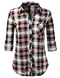 JJ Perfection Womens Long Sleeve Collared Button Down Plaid Flannel Shirt NAVYDPINKMOCHA S