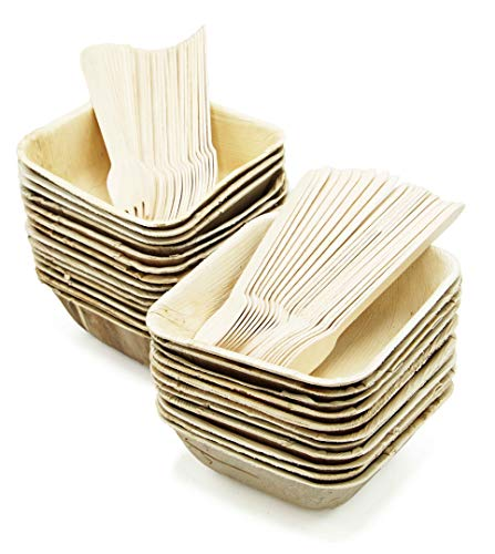 Party Disposable Bowls Dinnerware Set of 75 - Palm Leaf Plates (25) - 16 oz Square Deep Dishes, Wooden Forks(25) & Spoons (25) - Compostable. Great For Wedding, Camping, Birthday, Holidays