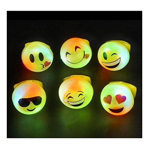 12 LED LIGHT UP FLASHING EMOJI RINGS EMOTICON JELLY RING PARTY BAG -