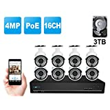 Reolink RLK16-410B8 16CH 4-Megapixel PoE NVR Home Security Camera System with 8pcs 1440P(2560x1440) HD Outdoor Bullet IP Camera w/3TB HDD