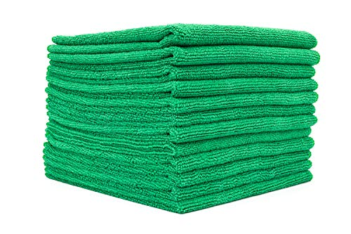 (12-Pack) 16 in. x 16 in. Commercial Grade All-Purpose Microfiber Highly Absorbent, LINT-Free, Streak-Free Cleaning Towels - THE RAG COMPANY (Green)
