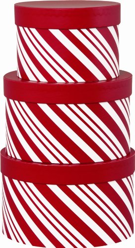 Large Nested (Christmas Nested Gift Boxes, Red Peppermint)
