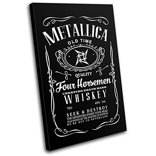 Bold Bloc Design – Metallica Rock Whisky Parody Typography 60x40cm SINGLE Canvas Art Print Box Framed Picture Wall Hanging – Hand Made In The UK – Fra…