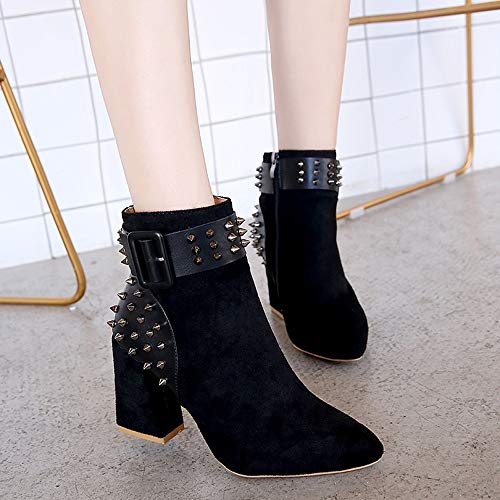 High Schnalle Freizeit Frauen Junjie Unterhaltung Quadratische Spitzschuh Strass High Schwarz Super Stiefel Stiefeletten Herbst 1 Martin Party Winter Aushöhlen Heel Outdoor AzYzqP