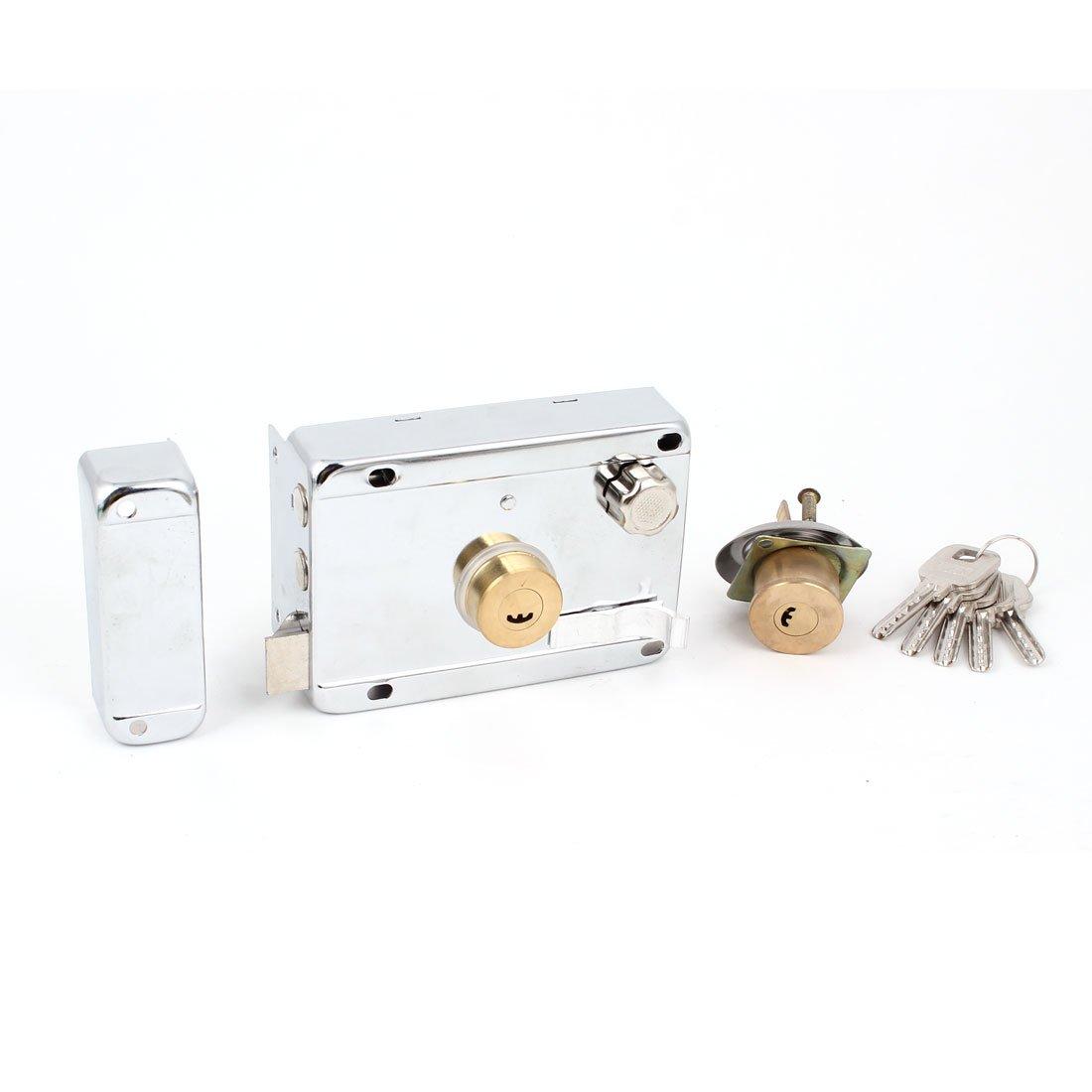 Home Safety Silver Tone Left Hand Double Tongue Door Deadbolt Rim Lock