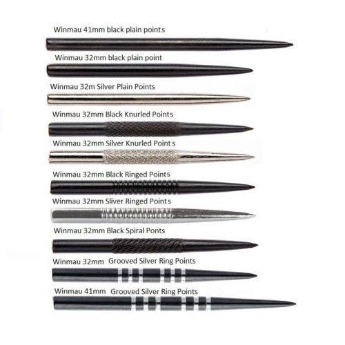 verschiedene Typen und L/ängen erh/ältlich Drei Sets Winmau Ersatz-Dartspitzen