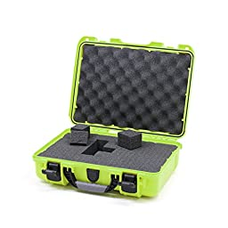 Nanuk 910 Lime Green case with pluck foam interior and 2 tsa locks.