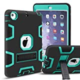 iPad Mini Case, iPad Mini 2 Case,iPad Mini 3 Case,MAKEIT 3in 1 Heavy Duty Protection Kickstand Combo Hybrid Impact Silicone Hard Case Cover for ipad Mini 1/ 2/ 3 (Black/Green)