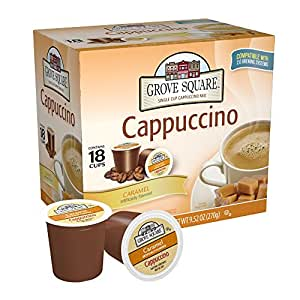Grove Square Cappuccino, Caramel, 18 Single Serve Cups (Pack of 3)