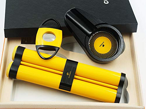 Cigar Tube Gift (Cohiba Quality Cigar Tube Ashtray Cutter Travel Gifts Set with 2 Humidifier)