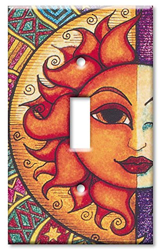 Art Plates - Single Gang Toggle OVERSIZE Switch Plate/OVER SIZE Wall Plate - Sun