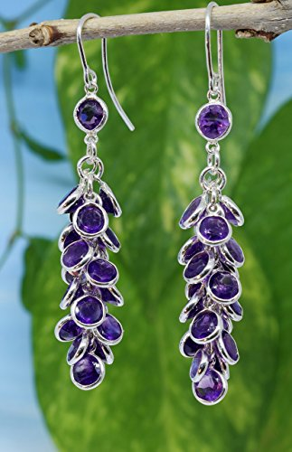 Sale 28% off - Sterling Silver Handmade Grape Bunch Style Drop Earrings With Natural Amethyst Gemstones - for Girlfriend for Wife for Her for Ladies