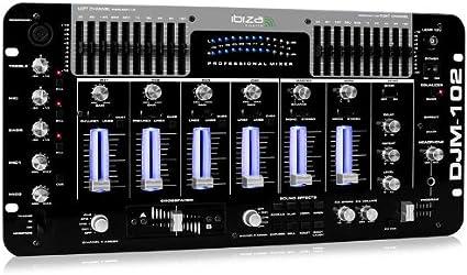 Ibiza DJM-102 Pro Mesa de mezclas de 4 canales LED (Ecualizador de ...