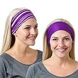 RiptGear Headband 2Pack Purple Solid and Purple Striped