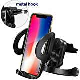 IPOW Universal Car Vent Phone Mount Stable Holder with Kickstand and Firm Fit Metal Spring-Loaded Lever Hook & One Button Released Clamp Compatible with iPhone X 8Plus 7Plus Galaxy S9 Note8