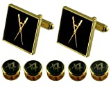 Select Gifts master of ceremony Gold Cufflinks Masonic 5 Shirt Dress Studs Box Set