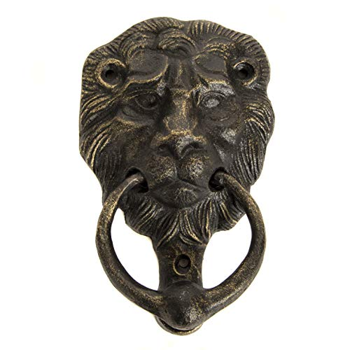 Cast Iron Lions Head Door Knocker Bronze with Screws 6''W X 4''W 4733 by Nauti (Image #1)