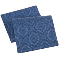Mahogany Jacquard Runner, 13 by 72-Inch, Medallion Navy Blue