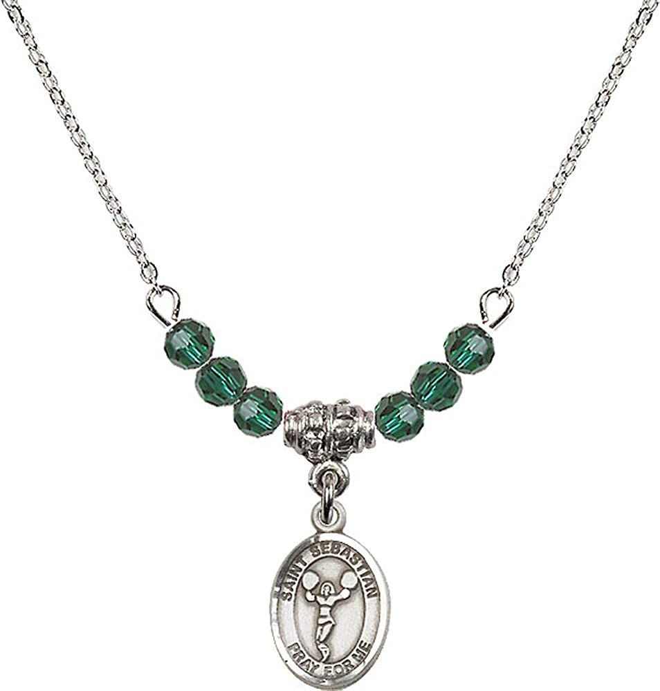 18-Inch Rhodium Plated Necklace with 4mm Emerald Birthstone Beads and Sterling Silver Saint Christopher Charm.