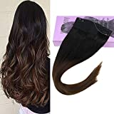 VeSunny 20inch Black Ombre Halo Human Hair Extentions Color Natural Black Fading to Dark Brown Ombre Remy Hair Extensions Halo Hair 11inch Width 100G/Set