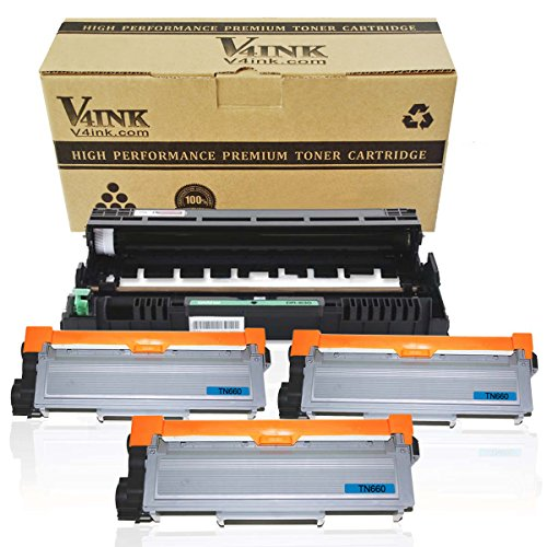 V4INK (1PK Drum + 3PK Toner) New Compatible Brother DR630 Drum Unit + Compatible Brother TN630/TN660 Toner Cartridge Black High Yield Combo Set
