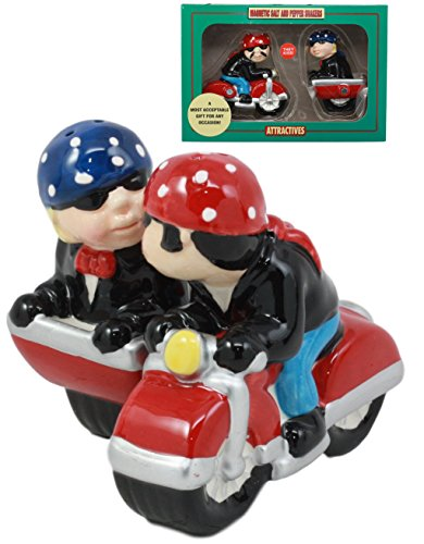 (Ebros Patriotic Biker Couple Riding Motorcycle and Side Car Rig Salt and Pepper Shakers Set Magnetic Ceramic Figurines with Rubber Stoppers)