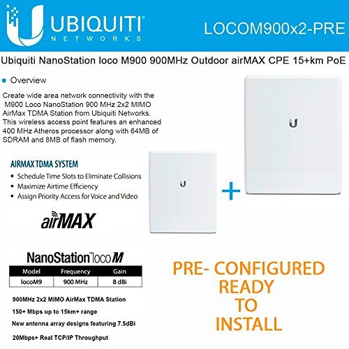 Single Mhz 400 Channel (Ubiquiti locoM9 2-PACK PRE-CONFI NanoStation 900MHz Outdoor airMAX CPE 15+km PoE)