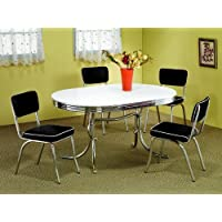 7pc White & Chrome Retro Oval Table & Black Chairs Set