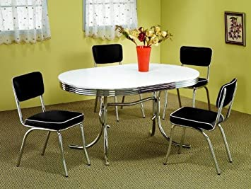 Amazon Com 50 S Retro Table Set Chrome Oval Table With 4 Chairs