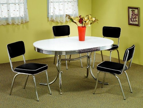 50′s Soda Fountain Table and Chairs Set by Coaster Furniture (Sets Retro Dinette)