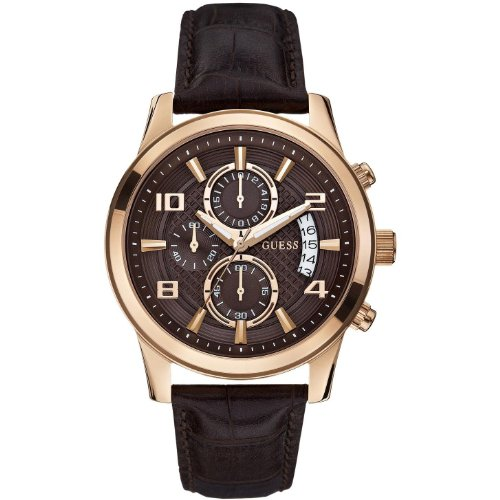GUESS W0076G4 Men's Chronograph,Rose Gold Tone,Stainless Steel Case,Brown Leather Strap,50m WR