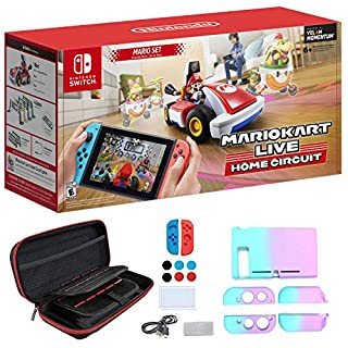 Nintendo 2020 Newest - Mario Kart Live: Home Circuit - Mario Set Edition - Holiday Family Gaming Bundle for Nintendo Switch or Switch Lite - RED - iPuzzle 12-in-1 Carrying Case for Nintendo Switch