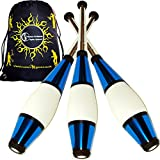 EURO PRO Juggling Clubs Set of 3 (BLUE) Metallic Deco Trainer Clubs + Flames N Games Travel Bag! Great Club Juggling Set For Beginners & Advanced Jugglers!