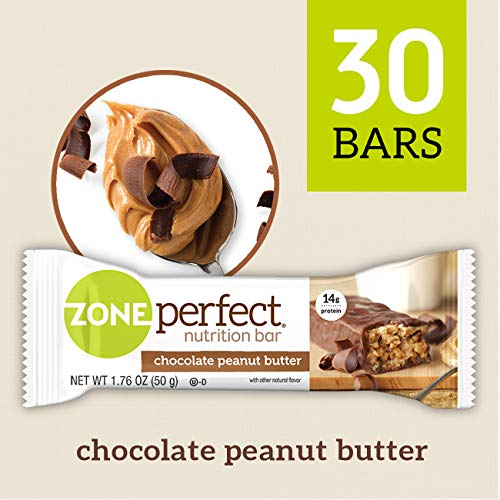 ZonePerfect Nutrition Snack Bars, Chocolate Peanut Butter, 1.76 oz, (30 Count) (Chocolate Peanut Candy Bar)
