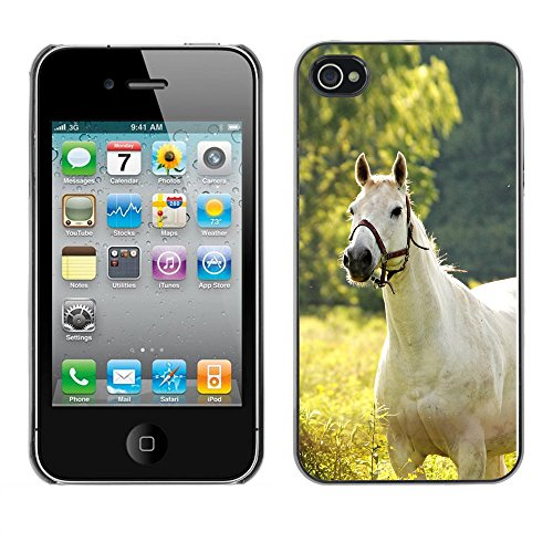 Omega Case PC Polycarbonate Cas Coque Drapeau - Apple iPhone 4 / 4S ( White Horse On Field )