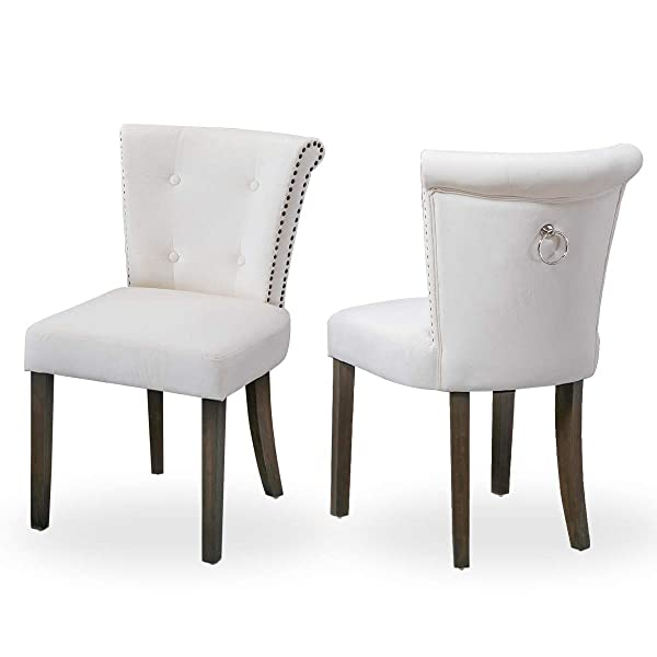 Victorian Dining Chair Button Tufted Armless Chair Upholstered Accent Chair with Nailhead Trim, Chair Ring Pull, Set of 2, Creamy White