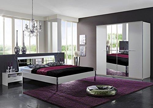 Schlafzimmer »LITE« alpinweiß mit Spiegelglas - Strasskristall