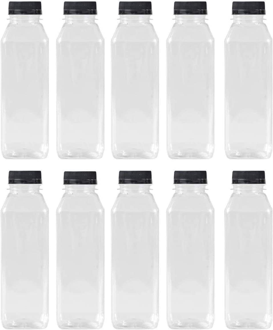 16 Oz Clear Plastic Juice/Dressing PET Square Container Bottles w/Black Tamper Evident Caps by Pexale(TM)- (Pack of 10) (10)
