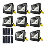 50W RGB Floodlight, LOFTEK Outdoor Color Changing Flood Light with Dimming and Timer Setting Function, Waterproof IP 66 Spotlight for Lawan and Garden,Black, 8-Pack