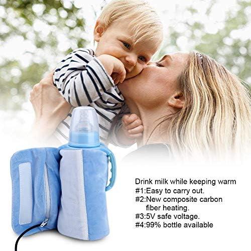 Tapa calefactada con biber/ón se calienta r/ápidamente USB Lavado removible port/átil Taza de leche para beb/és Calentador calentador Biber/ón infantil Bolsa de almacenamiento de calefacci/ón Azul