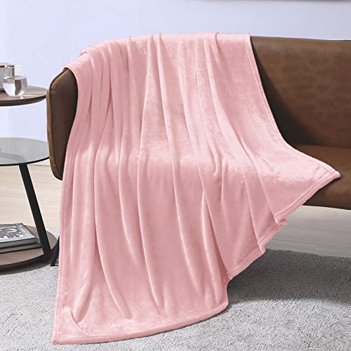 EXQ Home Fleece Blanket Pink Throw Blanket for Couch or Bed - Super Soft Microfiber Fuzzy Flannel Blanket for Adults or Pet (Lightweight,Non Shedding)