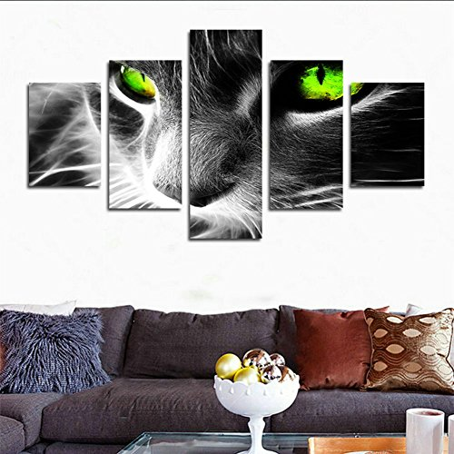 - hcozy H.Cozy 5 Piece Cat with Green Eyes Wall Art Painting Pictures Print On Canvas Animal The Picture for Home Modern Decoration Unframed far164 50 inch x30 inch