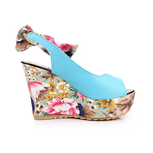 VogueZone009 Women's Soft Material Pull On Peep Toe High Heels Assorted Color Sandals Blue O4Z8botwi