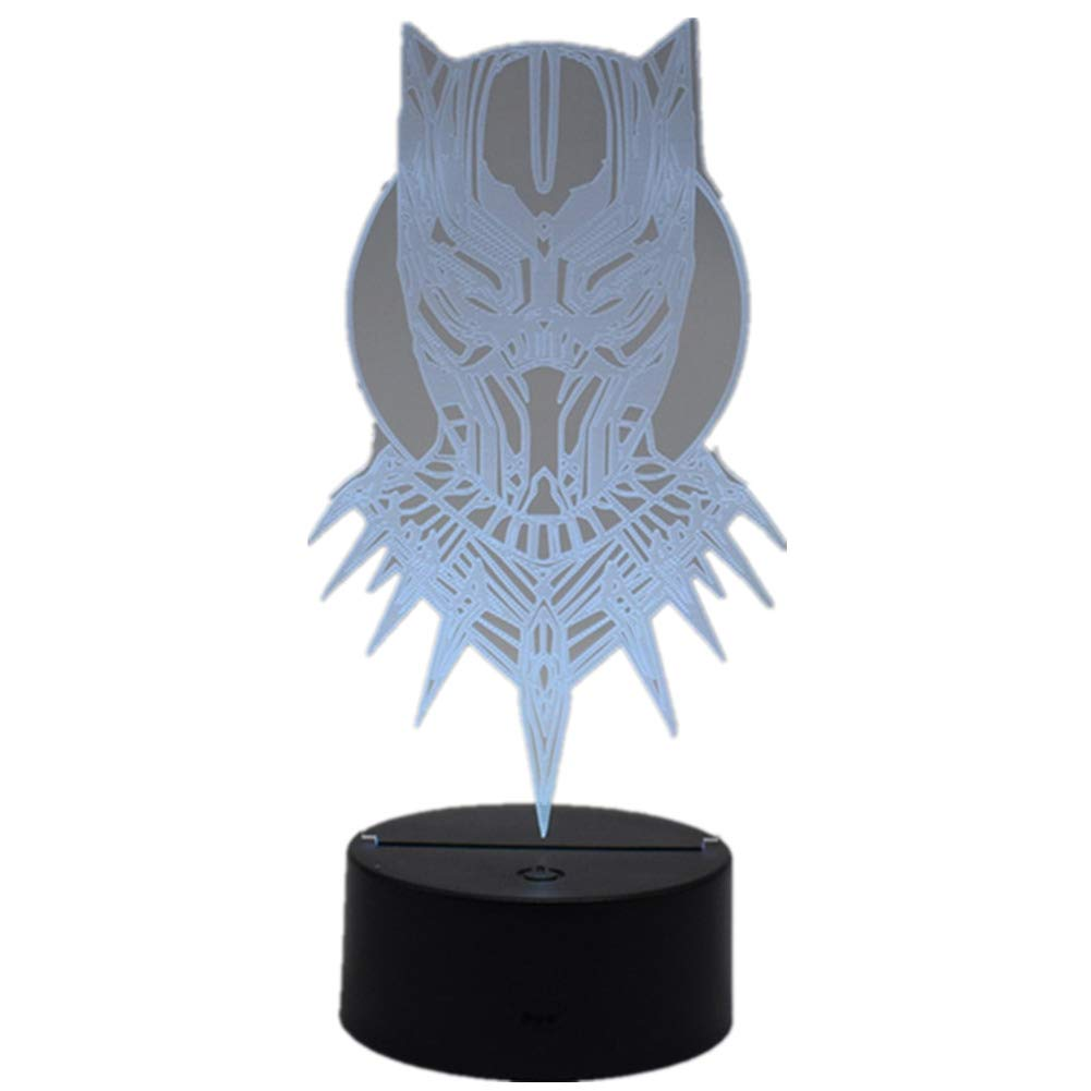 Fashion Superhero 3D Black Panther LED Night Light Home Office Decoration Touch Remote Control 16 Color Acrylic USB/Battery Superhero Bedroom Lights Creative Gifts Toy(Superhero Black Panther)