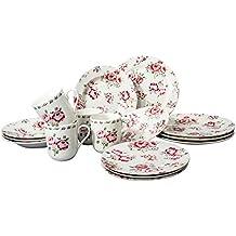 Tudor 16-Piece Porcelain Dinnerware Set, Service for 4 - FRAGRANCE ROSE, Royal Rose Garden collection; INTRO OFFER-35% OFF