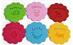 6 PCS Innovative Queen Size Adiabatic Spongy Skid-proof Thickened Felts Cloth Coasters (Pink)
