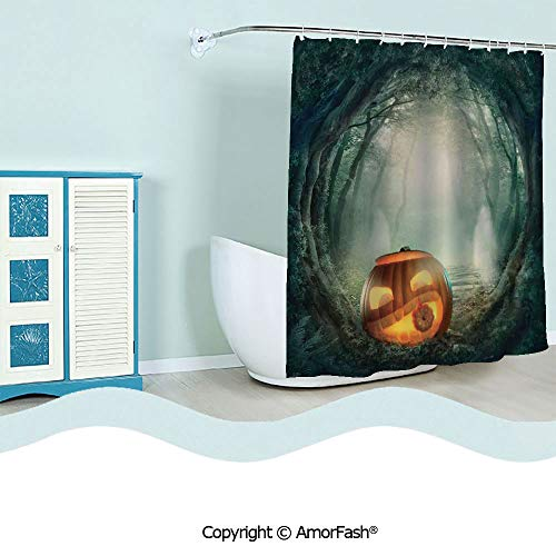 SCOCICI Extra Long,Bathroom Shower Curtain Funny Quotes Shower Curtains,72 x 84 inches,Halloween Decorations,Scary Halloween Pumpkin Enchanted Forest Mystic Twilight Party Art,Orange Teal
